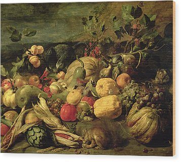 Still Life Of Fruits And Vegetables Wood Print by Frans Snyders