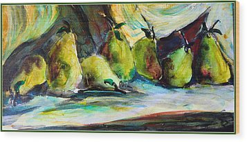 Still Life Of Pears Wood Print by Mindy Newman