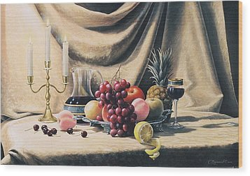 Still Life On A Gold Wood Print by Oleg Bylgakov