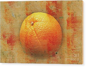 Still Life Orange Abstract Wood Print by Andee Design
