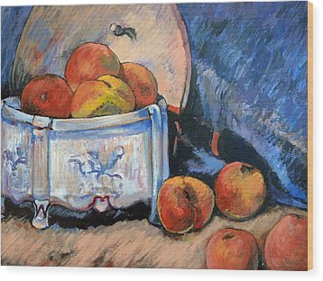Wood Print featuring the painting Still Life Peaches by Tom Roderick
