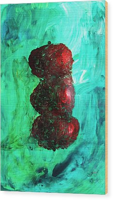Still Life Red Apples Stacked On Green Table And Wall Fruit Is About To Topple Smush Impressionistic Wood Print by M Zimmerman MendyZ