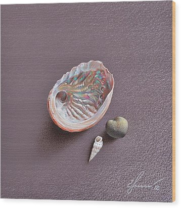 Still Life With Abalone Shell Wood Print by Elena Kolotusha