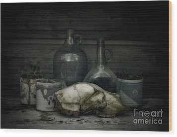 Still Life With Bear Skull Wood Print by Priska Wettstein