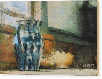 Still Life With Blue Jug Wood Print by Lois Bryan