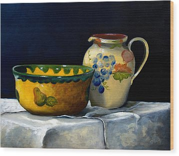 Still Life With Bowl And Pitcher Wood Print by John OBrien