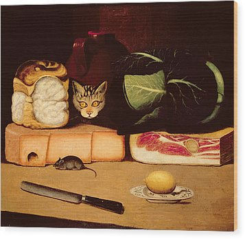 Still Life With Cat And Mouse Wood Print by Anonymous