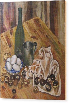 Still Life With Chesnuts And Eggs Wood Print by Vladimir Kezerashvili