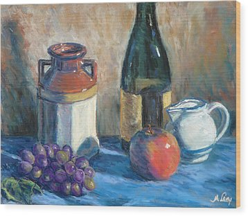 Still Life With Crock And Apple Wood Print by Michael Camp