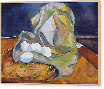 Still Life With Eggs Wood Print by Mindy Newman