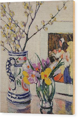 Still Life With Flowers In A Vase   Wood Print by Rowley Leggett