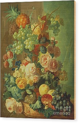 Still Life With Fruit And Flowers Wood Print by Jan van Os