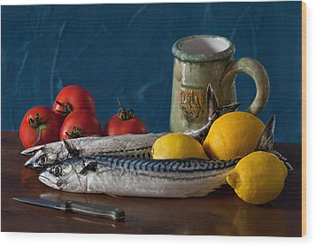 Still Life With Mackerels Lemons And Tomatoes Wood Print by Juan Carlos Ferro Duque