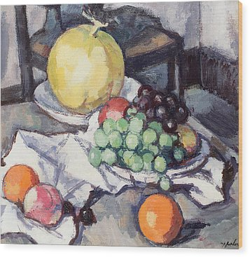 Still Life With Melons And Grapes Wood Print by Samuel John Peploe