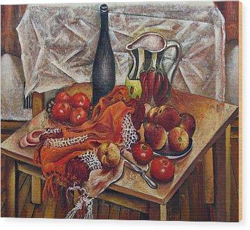 Still Life With Peaches And Tomatoes Wood Print by Vladimir Kezerashvili