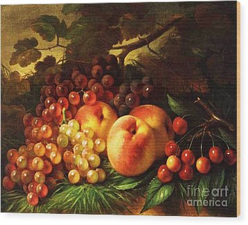 Still Life With Peaches Wood Print by Pg Reproductions