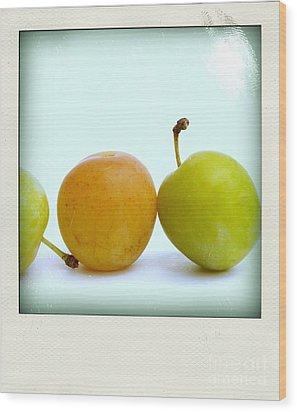 Still Life With Plums. Wood Print by Bernard Jaubert
