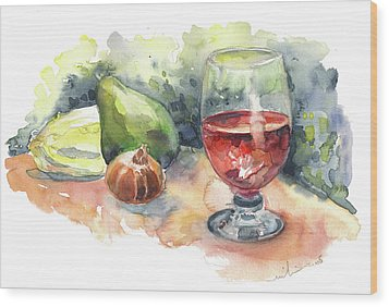Still Life With Red Wine Glass Wood Print by Miki De Goodaboom
