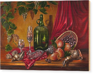Still Life With Snails Wood Print by Roxana Paul