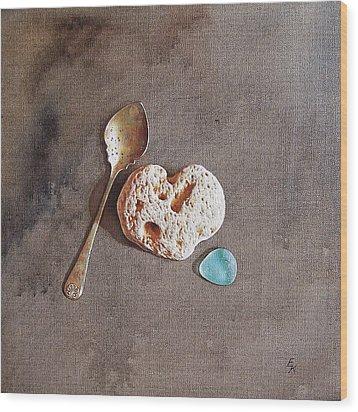 Still Life With Teaspoon And Heart Stone Wood Print by Elena Kolotusha