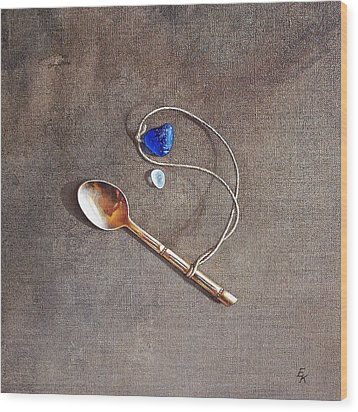 Still Life With Teaspoon And Sea Glass Wood Print by Elena Kolotusha