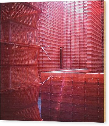 Stimulus Package..#red #crates Wood Print by A Rey