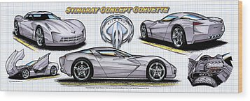 Wood Print featuring the drawing 2010 Stingray Concept Corvette by K Scott Teeters