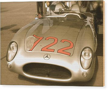 Stirling Moss 1955 Mille Miglia 722 Mercedes Wood Print by John Colley