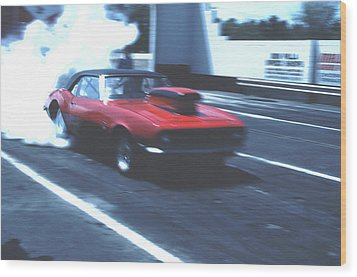 Stock Car Burning Rubber Wood Print