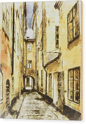 Stockholm Old City Wood Print by Yury Malkov