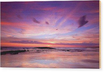 Wood Print featuring the photograph Stockton Beach Sunset by Paul Svensen