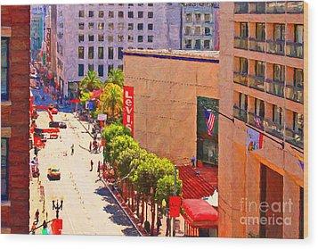 Stockton Street San Francisco Towards Union Square Wood Print by Wingsdomain Art and Photography