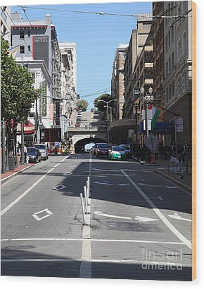 Stockton Street Tunnel In San Francisco Wood Print by Wingsdomain Art and Photography