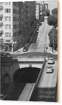 Stockton Street Tunnel Midday Late Summer In San Francisco . Black And White Photograph 7d7499 Wood Print by Wingsdomain Art and Photography