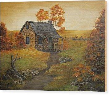 Stone Cabin Wood Print by Kathy Sheeran