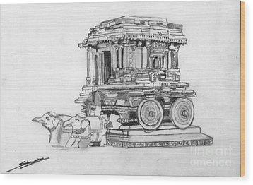 Stone Chariot Hampi Vijayanagar Empire Wood Print by Shashi Kumar