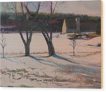 Stone Church  In Winter Wood Print by Sid Solomon