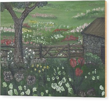 Wood Print featuring the painting Stone Cottage by Angela Stout
