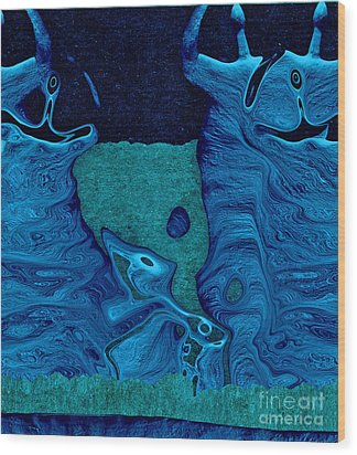 Stone Men 28c2b - Celebration Wood Print by Variance Collections
