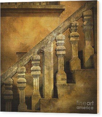 Stone Stairs And Balustrade. Wood Print by Bernard Jaubert