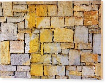 Stone Wall Wood Print by Carlos Caetano