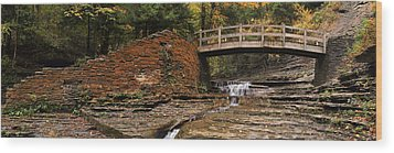 Stone Walls And Wooden Bridges Wood Print by Joshua House