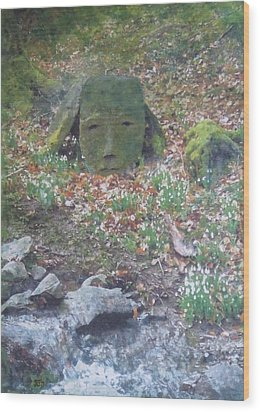 Wood Print featuring the painting Stoneface Looking At Me by Richard James Digance