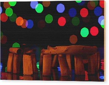 Stonehenge In Starry Night Wood Print by Paul Ge