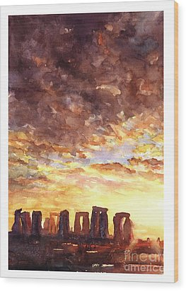 Stonehenge Sunrise Wood Print by Ryan Fox