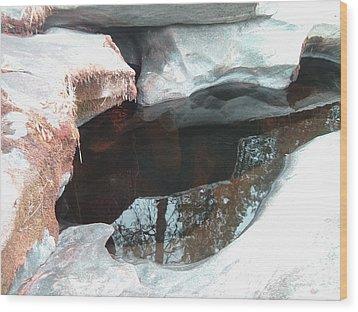 Stones And Water Wood Print by Naxart Studio