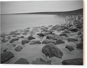 Stones In North Sea In Germany Wood Print by by Felix Schmidt
