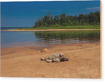 Stones On The Beach Wood Print by Doug Long