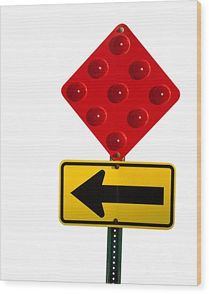 Stop And Turn Street Sign Wood Print by Blink Images
