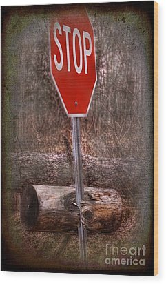 Stop Firewood Transport Wood Print by The Stone Age
